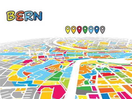 Bern, Switzerland, Downtown 3D Vector Map of Famous Streets. Bright foreground full of colors. White Streets, Waterways and grey background areal. White Horizon.