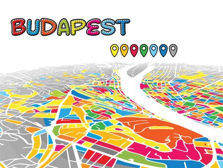 Budapest, Hungary, Downtown 3D Vector Map of Famous Streets. Bright foreground full of colors. White Streets, Waterways and grey background areal. White Horizon. Illusztráció