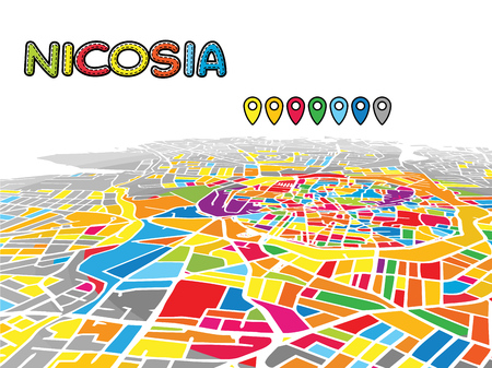 Nicosia, Cyprus, Downtown 3D Vector Map of Famous Streets. Bright foreground full of colors. White Streets, Waterways and grey background areal. White Horizon. Ilustrace