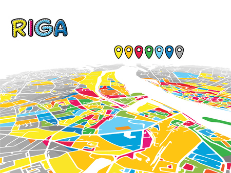 Riga, Latvia, Downtown 3D Vector Map of Famous Streets. Bright foreground full of colors. White Streets, Waterways and grey background areal. White Horizon.