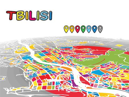 Tbilisi, Georgia, Downtown 3D Vector Map of Famous Streets. Bright foreground full of colors. White Streets, Waterways and grey background areal. White Horizon.
