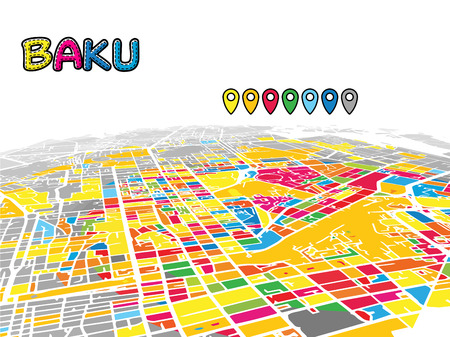 Baku, Azerbaijan, Downtown 3D Vector Map of Famous Streets. Bright foreground full of colors. White Streets, Waterways and grey background areal. White Horizon.