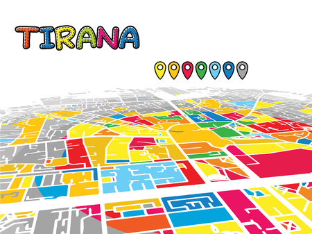 Tirana, Albania, Downtown 3D Vector Map of Famous Streets. Bright foreground full of colors. White Streets, Waterways and grey background areal. White Horizon. Ilustrace
