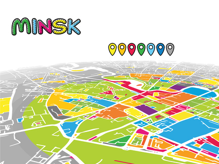 Minsk, Belarus, Downtown 3D Vector Map of Famous Streets. Bright foreground full of colors. White Streets, Waterways and grey background areal. White Horizon.
