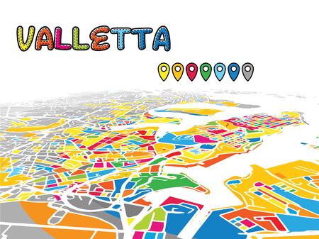 有名な通りのダウンタウンの 3D ベクトル地図です。明るい前景色に満ちています。白道、水路、灰色背景の面積。白い地平線。