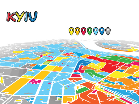 Kyiv, Ukraine, Downtown 3D Vector Map of Famous Streets. Bright foreground full of colors. White Streets, Waterways and grey background areal. White Horizon. Illustration