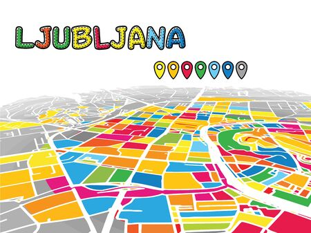 Ljubljana, Slovenia, Downtown 3D Vector Map of Famous Streets. Bright foreground full of colors. White Streets, Waterways and grey background areal. White Horizon.