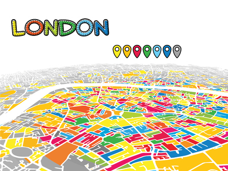London, United Kingdom, Downtown 3D Vector Map of Famous Streets. Bright foreground full of colors. White Streets, Waterways and grey background areal. White Horizon.
