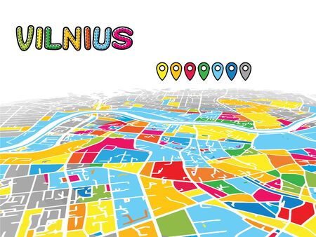Vilnius, Lithuania, Downtown 3D Vector Map of Famous Streets. Bright foreground full of colors. White Streets, Waterways and grey background areal. White Horizon. Ilustrace