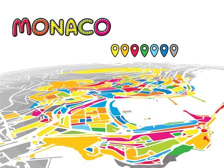 Monaco, Monaco, Downtown 3D Vector Map of Famous Streets. Bright foreground full of colors. White Streets, Waterways and grey background areal. White Horizon. Ilustrace