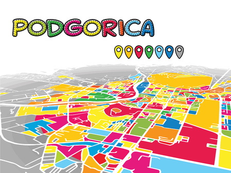 Podgorica, Montenegro, Downtown 3D Vector Map of Famous Streets. Bright foreground full of colors. White Streets, Waterways and grey background areal. White Horizon.