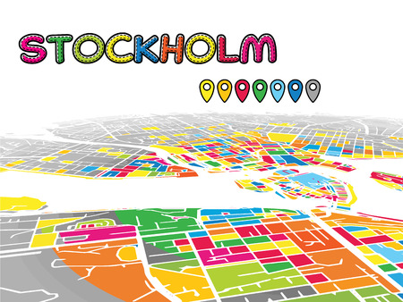 Stockholm, Sweden, Downtown 3D Vector Map of Famous Streets. Bright foreground full of colors. White Streets, Waterways and grey background areal. White Horizon.