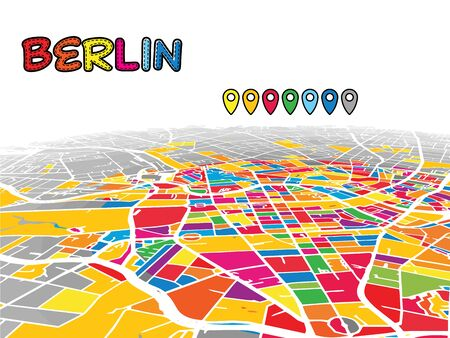 Berlin, Germany, Downtown 3D Vector Map of Famous Streets. Bright foreground full of colors. White Streets, Waterways and grey background areal. White Horizon. Ilustrace
