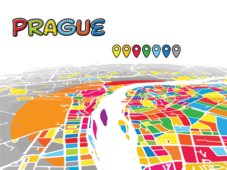 Prague, Czech Republic, Downtown 3D Vector Map of Famous Streets. Bright foreground full of colors. White Streets, Waterways and grey background areal. White Horizon. Ilustrace