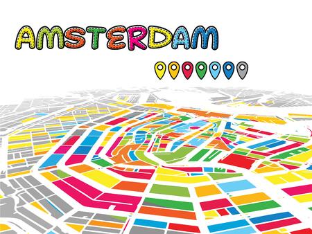 有名な通りのアムステルダム、オランダ、ダウンタウンの 3D ベクトル地図です。明るい前景色に満ちています。白道、水路、灰色背景の面積。白い