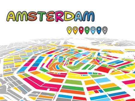 Amsterdam, Netherlands, Downtown 3D Vector Map of Famous Streets. Bright foreground full of colors. White Streets, Waterways and grey background areal. White Horizon.