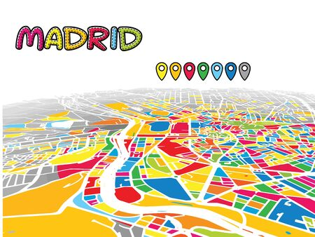 Madrid, Spain, Downtown 3D Vector Map of Famous Streets. Bright foreground full of colors. White Streets, Waterways and grey background areal. White Horizon. Vectores