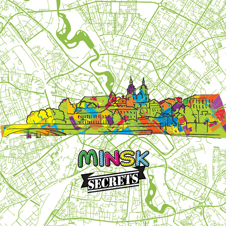 Minsk Travel Secrets Art Map for mapping experts and travel guides. Handmade city logo, typo badge and hand drawn vector image on top are grouped and moveable.