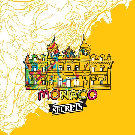 insider: Monaco Travel Secrets Art Map for mapping experts and travel guides. Handmade city logo, typo badge and hand drawn vector image on top are grouped and moveable.