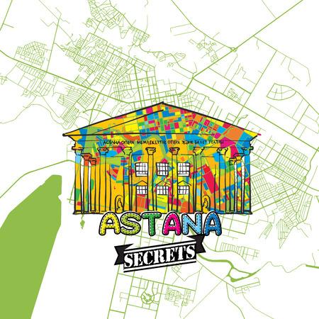 아스타나 여행 비밀지도 제작 전문가 및 여행 가이드를위한 아트지도. 손수 도시 로고, 오타 배지 및 위에 손으로 그려진 된 벡터 이미지 그룹화 하 고