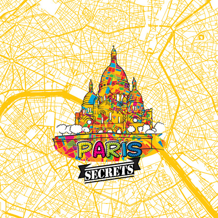 Paris Travel Secrets Art Map for mapping experts and travel guides. Handmade city logo, typo badge and hand drawn vector image on top are grouped and moveable. Illustration