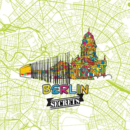 Berlin Travel Secrets Art Map for mapping experts and travel guides. Handmade city logo, typo badge and hand drawn vector image on top are grouped and moveable.