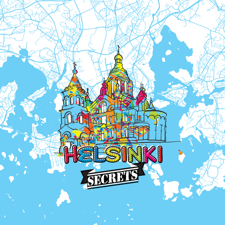 starter: Helsinki Travel Secrets Art Map for mapping experts and travel guides. Handmade city logo, typo badge and hand drawn vector image on top are grouped and moveable. Illustration