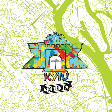 Kyiv Travel Secrets Art Map for mapping experts and travel guides. Handmade city logo, typo badge and hand drawn vector image on top are grouped and moveable.