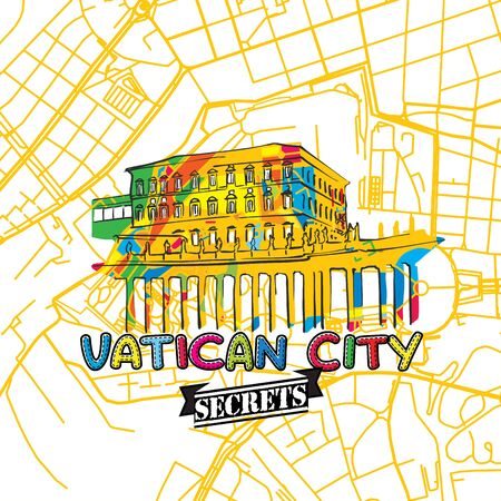 insider: Vatican Travel Secrets Art Map for mapping experts and travel guides. Handmade city logo, typo badge and hand drawn vector image on top are grouped and moveable.