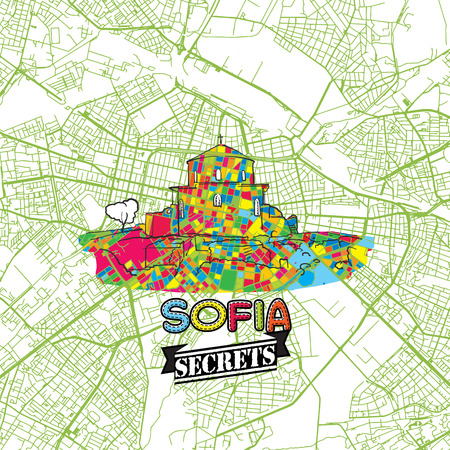 Sofia Travel Secrets Art Map for mapping experts and travel guides. Handmade city logo, typo badge and hand drawn vector image on top are grouped and moveable.