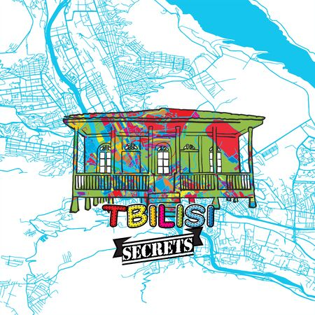 Tbilisi Travel Secrets Art Map for mapping experts and travel guides. Handmade city logo, typo badge and hand drawn vector image on top are grouped and moveable.