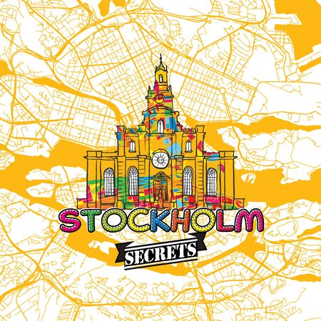 지도 전문가 및 여행 가이드를위한 스톡홀름 여행 비밀 아트지도. 손수 도시 로고, 오타 배지 및 위에 손으로 그려진 된 벡터 이미지 그룹화 하 고 이동