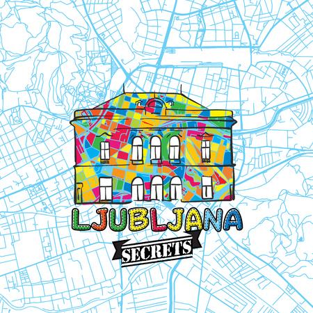 Ljubljana Travel Secrets Art Map for mapping experts and travel guides. Handmade city logo, typo badge and hand drawn vector image on top are grouped and moveable.