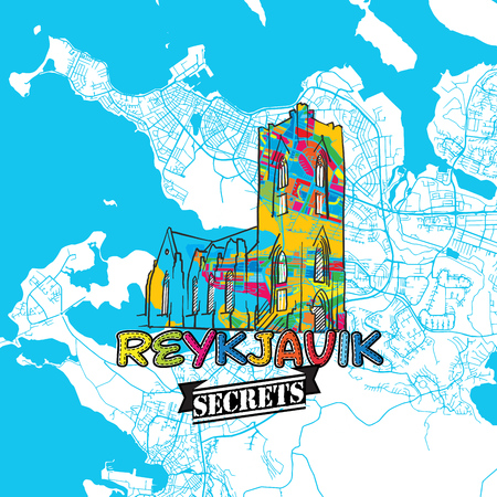 insider: Reykjavik Travel Secrets Art Map for mapping experts and travel guides. Handmade city logo, typo badge and hand drawn vector image on top are grouped and moveable. Illustration