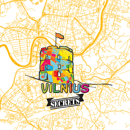 Vilnius Travel Secrets Art Map for mapping experts and travel guides. Handmade city logo, typo badge and hand drawn vector image on top are grouped and moveable.