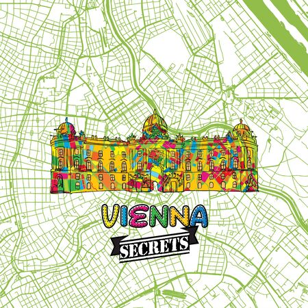 Vienna Travel Secrets Art Map for mapping experts and travel guides. Handmade city logo, typo badge and hand drawn vector image on top are grouped and moveable.
