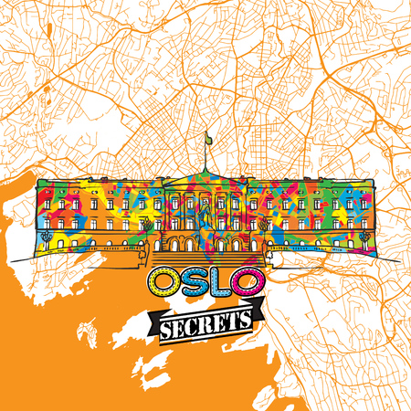 Oslo Travel Secrets Art Map for mapping experts and travel guides. Handmade city logo, typo badge and hand drawn vector image on top are grouped and moveable. Çizim