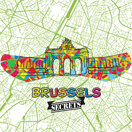 guideline: Brussels Travel Secrets Art Map for mapping experts and travel guides. Handmade city logo, typo badge and hand drawn vector image on top are grouped and moveable.