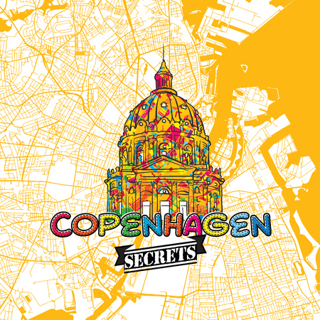 Copenhagen Travel Secrets Art Map for mapping experts and travel guides. Handmade city logo, typo badge and hand drawn vector image on top are grouped and moveable. Illustration