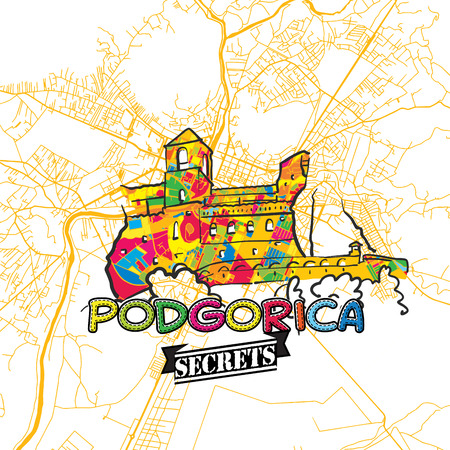Podgorica Travel Secrets Art Map for mapping experts and travel guides. Handmade city logo, typo badge and hand drawn vector image on top are grouped and moveable.
