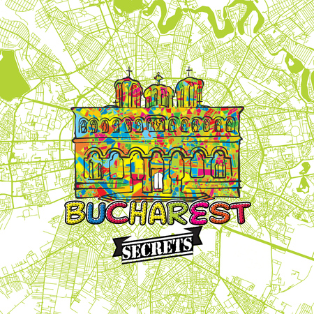Bucharest Travel Secrets Art Map for mapping experts and travel guides. Handmade city logo, typo badge and hand drawn vector image on top are grouped and moveable.