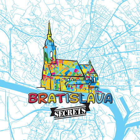 Bratislava Travel Secrets Art Map for mapping experts and travel guides. Handmade city logo, typo badge and hand drawn vector image on top are grouped and moveable.