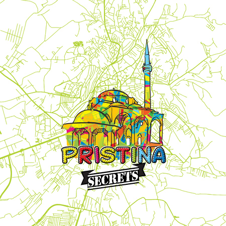 guideline: Pristina Travel Secrets Art Map for mapping experts and travel guides. Handmade city logo, typo badge and hand drawn vector image on top are grouped and moveable.
