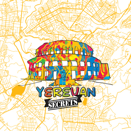 Yerevan Travel Secrets Art Map for mapping experts and travel guides. Handmade city logo, typo badge and hand drawn vector image on top are grouped and moveable.