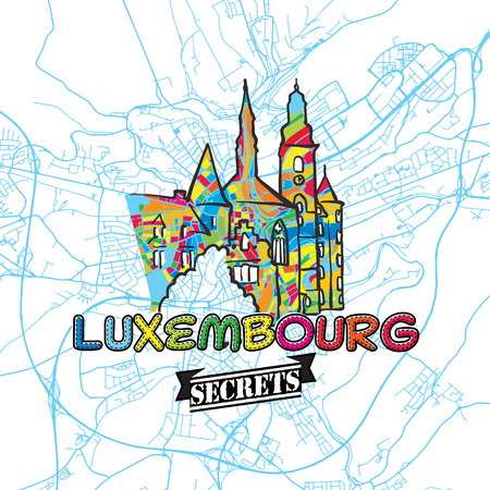 guideline: Luxembourg Travel Secrets Art Map for mapping experts and travel guides. Handmade city logo, typo badge and hand drawn vector image on top are grouped and moveable. Illustration