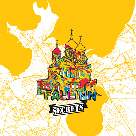 Tallinn Travel Secrets Art Map for mapping experts and travel guides. Handmade city logo, typo badge and hand drawn vector image on top are grouped and moveable.