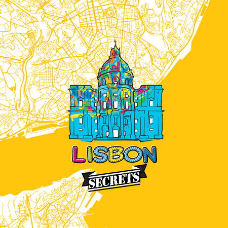 Lisbon Travel Secrets Art Map for mapping experts and travel guides. Handmade city logo, typo badge and hand drawn vector image on top are grouped and moveable.
