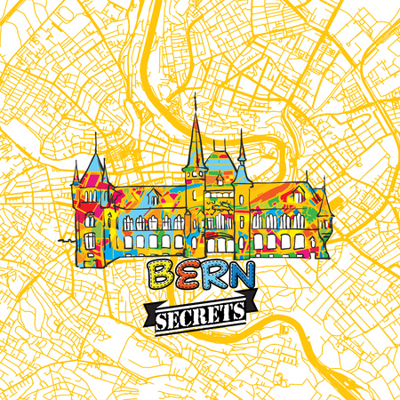 Bern Travel Secrets Art Map for mapping experts and travel guides. Handmade city logo, typo badge and hand drawn vector image on top are grouped and moveable. Çizim