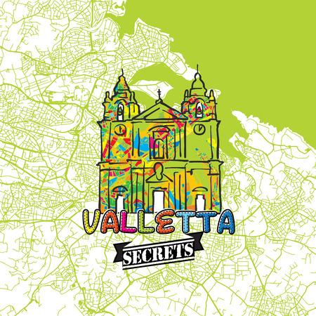 バレッタ旅行秘密アート マッピング専門家の地図と旅行ガイドします。手作り市ロゴ、タイプミス バッジと可動の手の上に描かれたベクター画像をグループ化