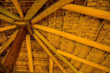 Inner Wooden Tree Roof, warm color, organic vintage building structure, low angle view Stock Photo